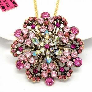 Betsey Johnson crystal pendant long necklace NWT